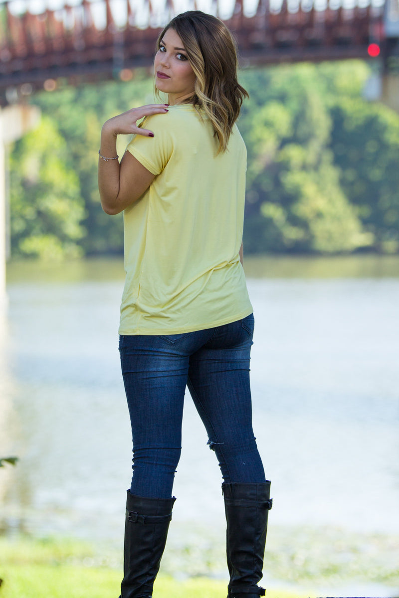 The Perfect Piko Rolled Short Sleeve Top-Custard