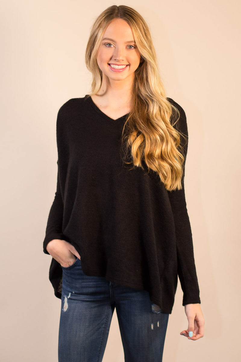 The Perfect Piko V-Neck Sweater Top-Black