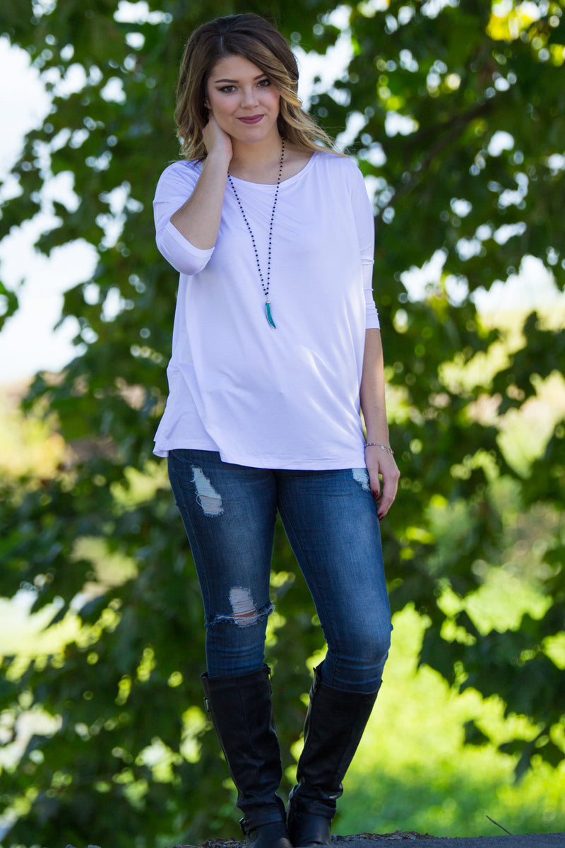 The Perfect Piko 3/4 Sleeve Top-White