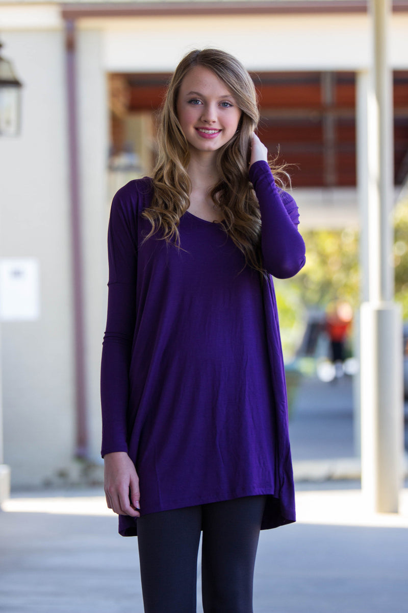 The Perfect Piko V-Neck Tunic Top-Dark Purple