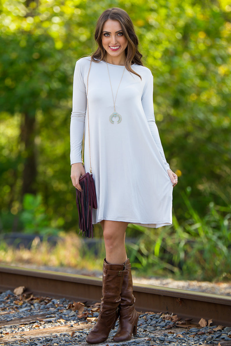 The Perfect Piko Long Sleeve Swing Dress-Silver