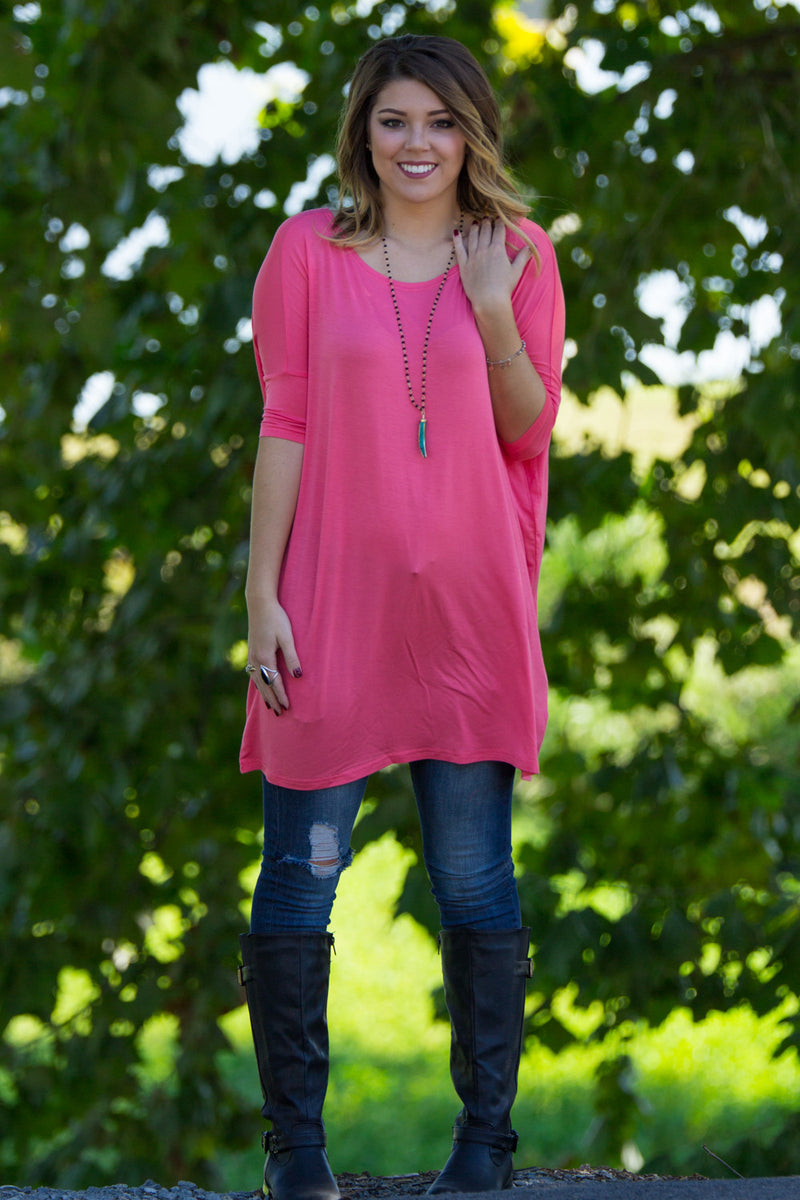 The Perfect Piko Half Sleeve Tunic-Coral