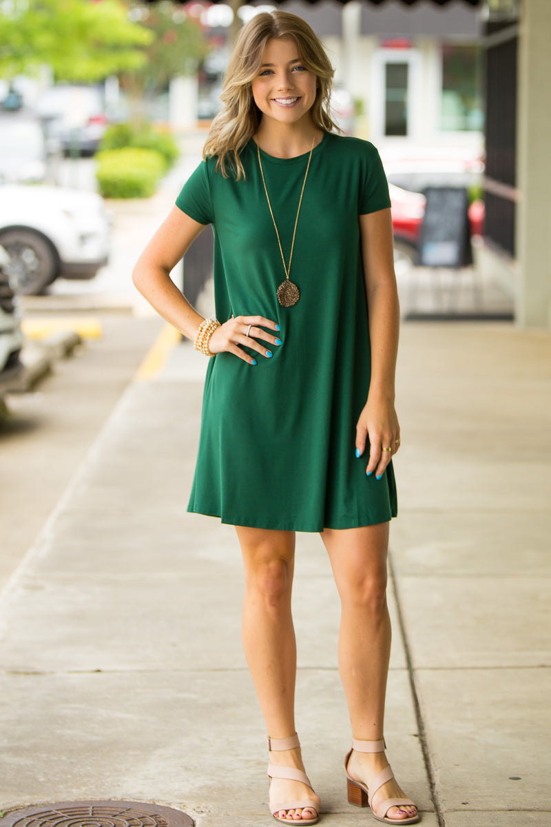 The Perfect Piko Short Sleeve Swing Dress-Forest Green