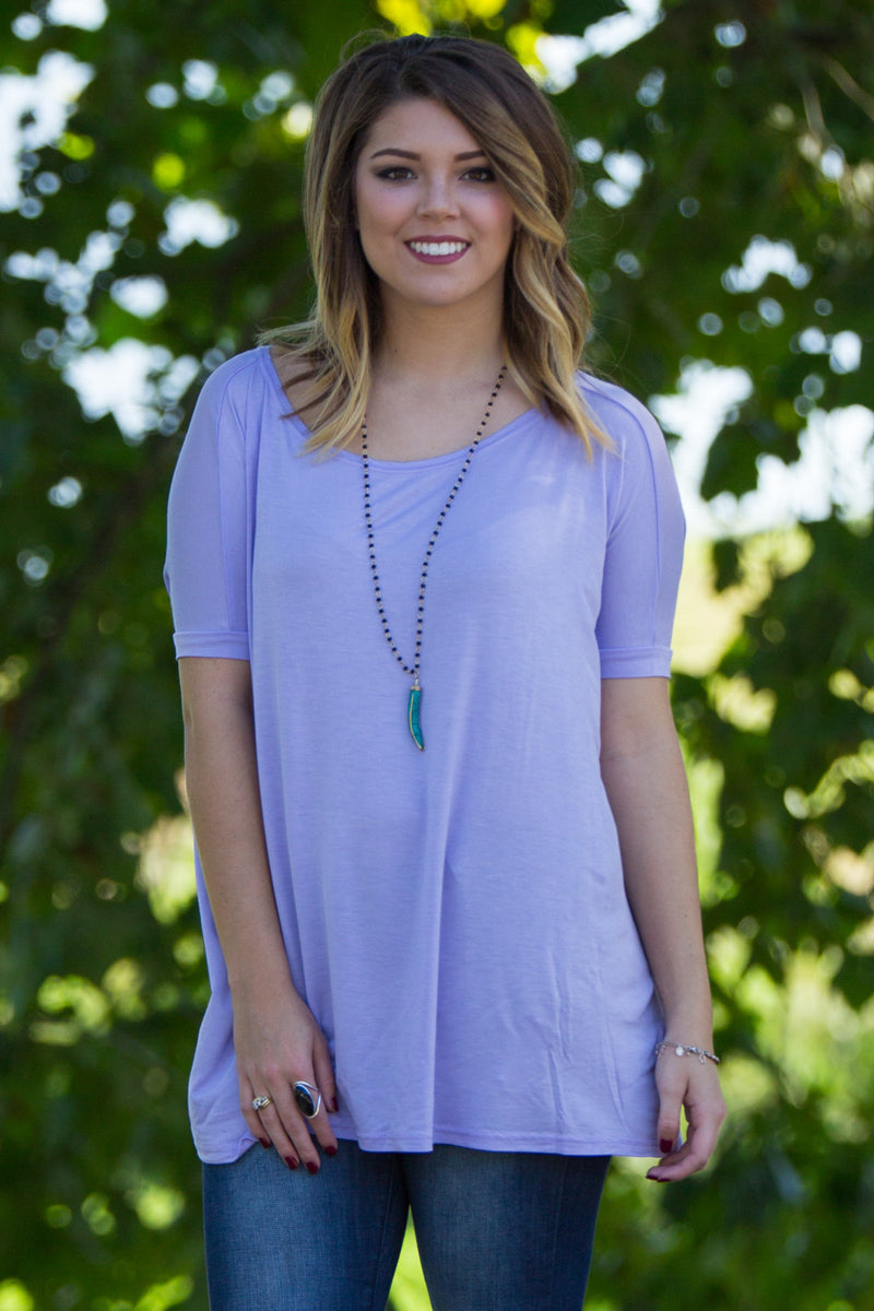 The Perfect Piko Short Sleeve Top-Lilac