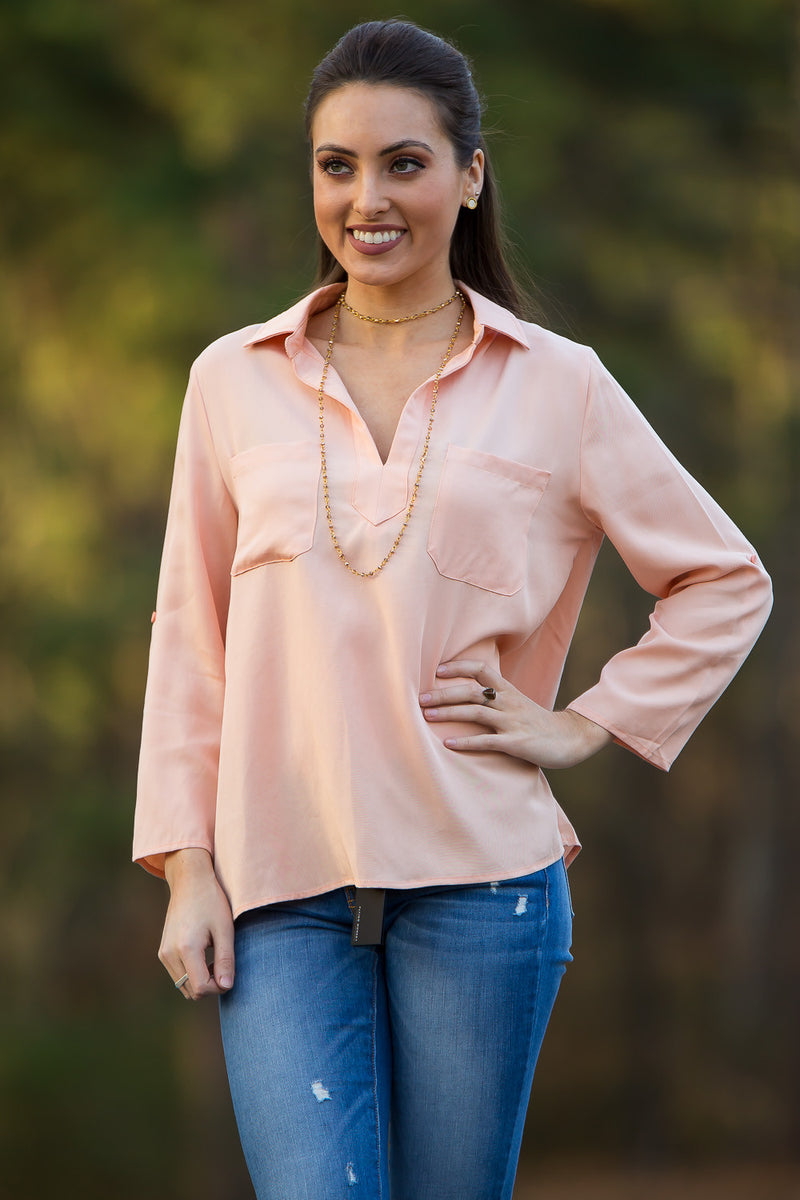 Everly-Never Too Late Top-Peach