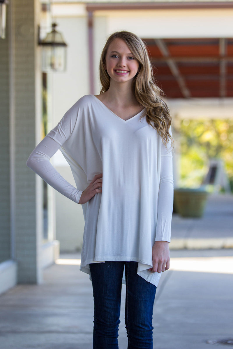 The Perfect Piko V-Neck Tunic Top-Off White