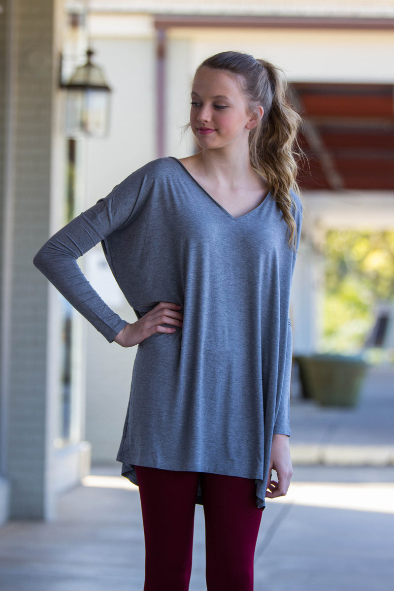 The Perfect Piko V-Neck Tunic Top-Heather Grey