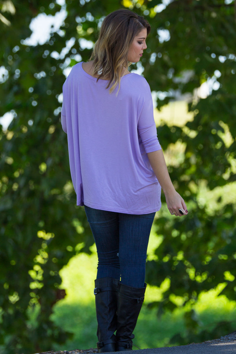 The Perfect Piko 3/4 Sleeve Top-Lilac