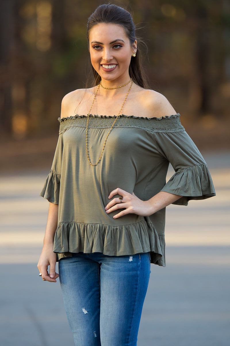 Smell The Roses-Vicotria Off The Shoulder Top-Olive