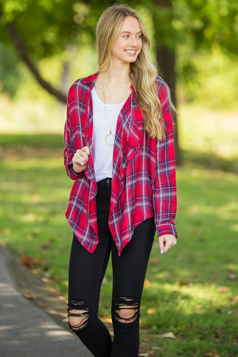 Plaid For The Moment Top-Red
