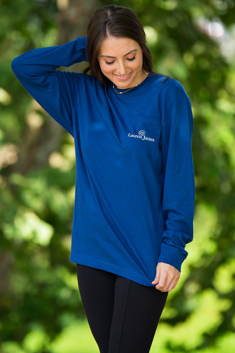SALE- Lauren James-Tailgate Season Long Sleeve Top-Estate Blue