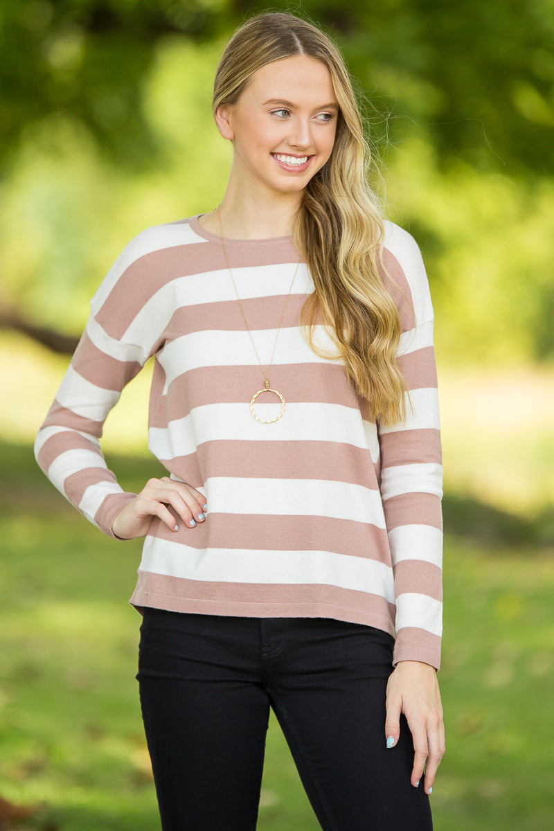 Turn Around Sweater Top-Dusty Pink/Ivory