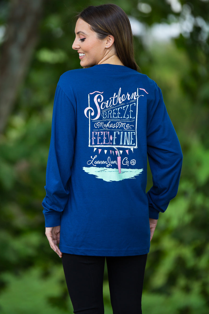 SALE- Lauren James-Southern Breeze Long Sleeve Top-Estate Blue