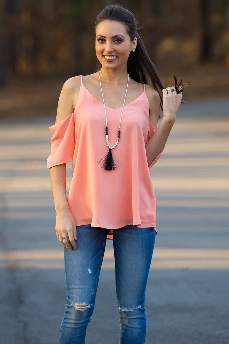 Smell The Roses-Kali Cold Shoulder Top-Peach