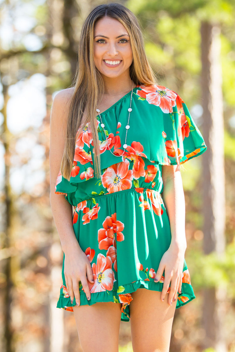 SALE- Island In The Sky Romper-Green/Orange