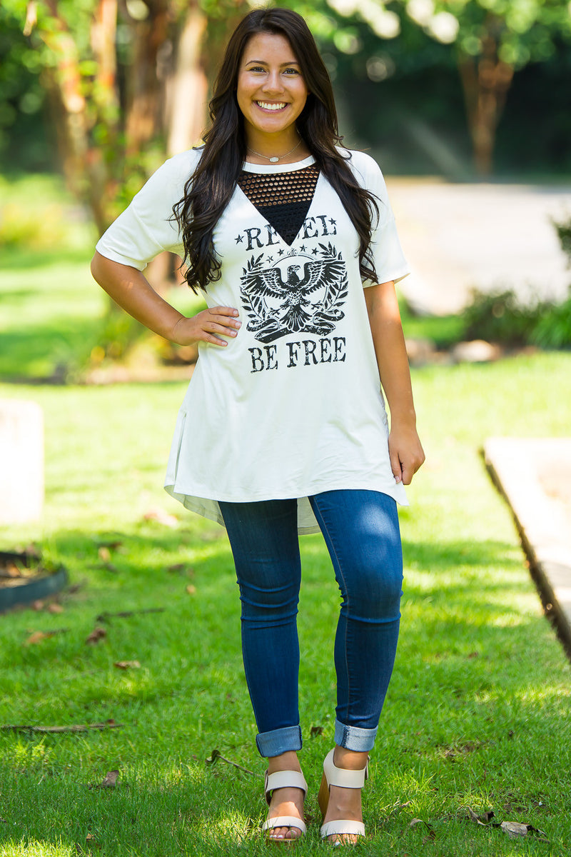 Be Free Graphic Tee-Ivory