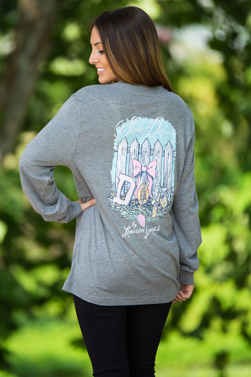SALE- Lauren James-Sweet Defense Long Sleeve Top-Dark Heather Grey