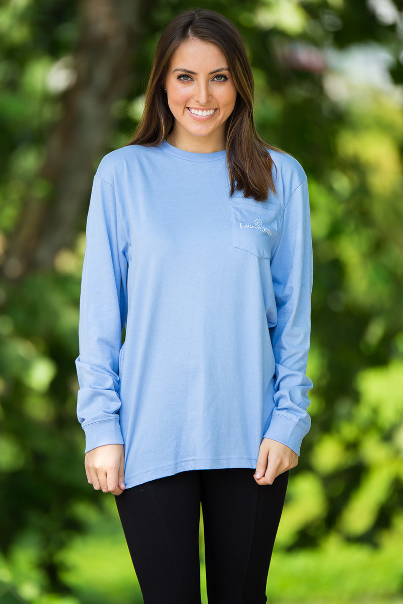 SALE- Lauren James-Endzone Etiquette Long Sleeve Top-Polar Blue