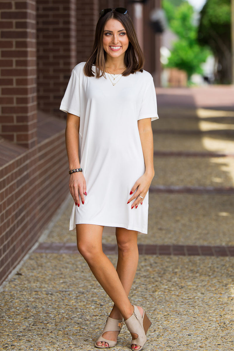 The Perfect Piko Short Sleeve Dress-Off White