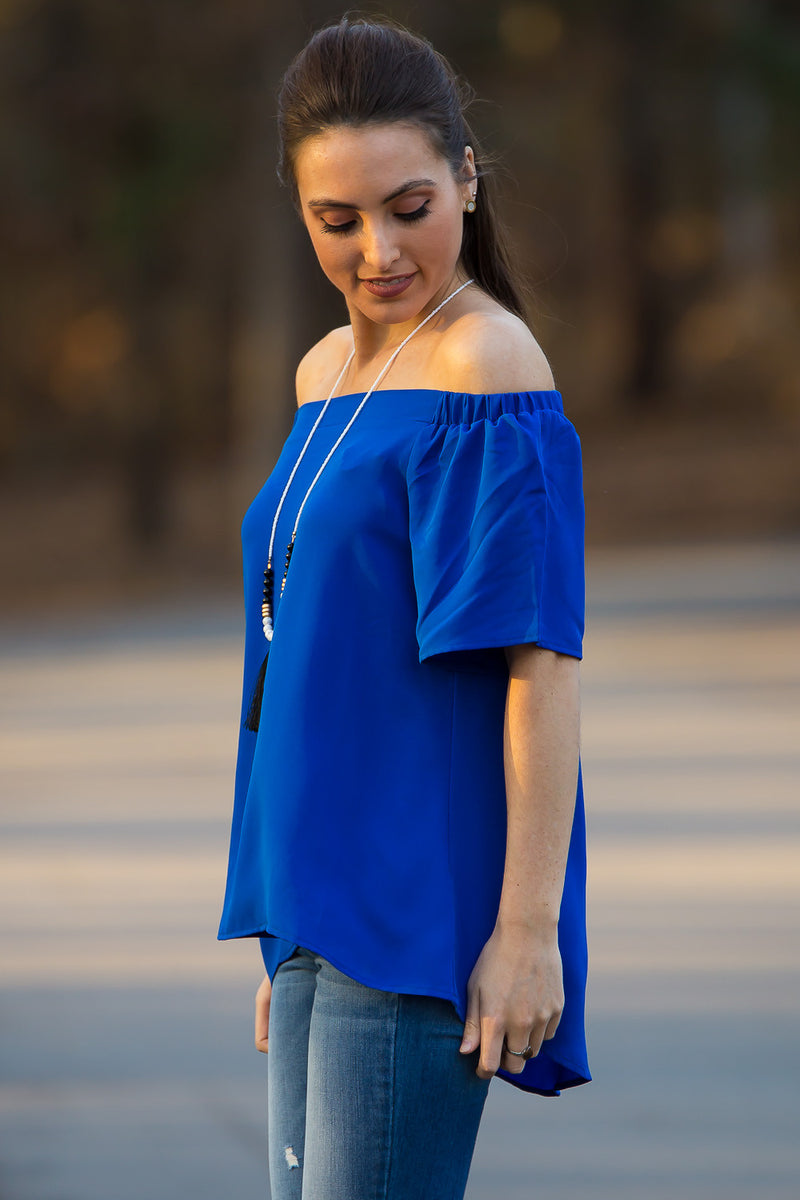SALE-Over The Ocean Top-Royal Blue