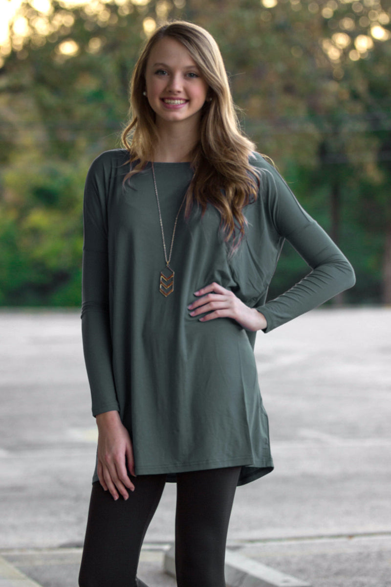 The Perfect Piko Tunic Top-Army