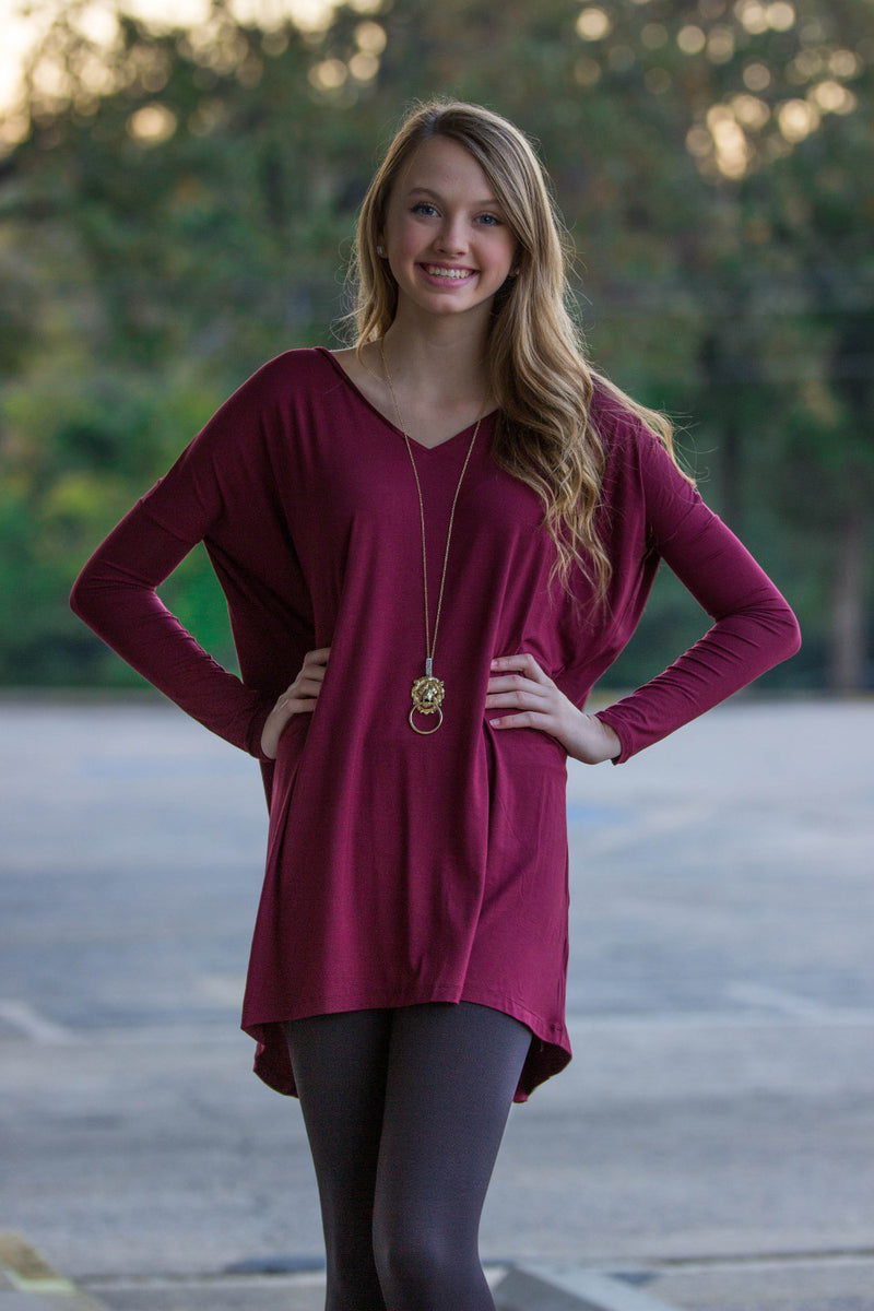 The Perfect Piko V-Neck Tunic Top-Plum
