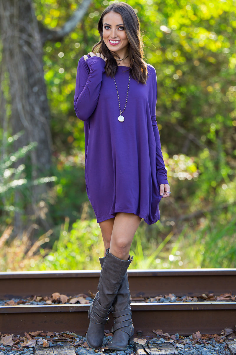 The Perfect Piko Tunic Top-Dark Purple