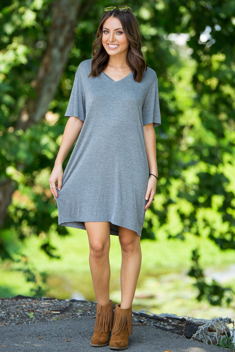 The Perfect Piko Short Sleeve V-Neck Dress-Heather Grey