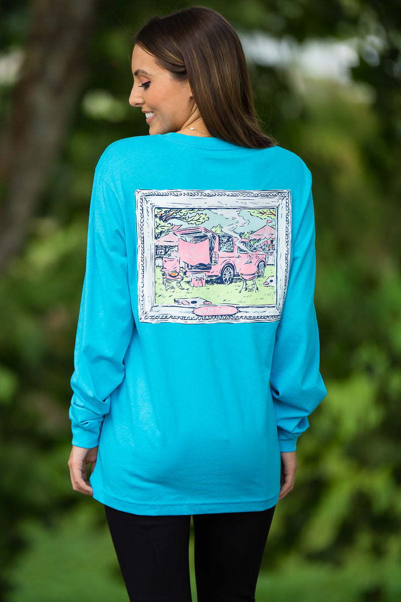 SALE- Lauren James-LJLR Long Sleeve Top-Glacier Blue