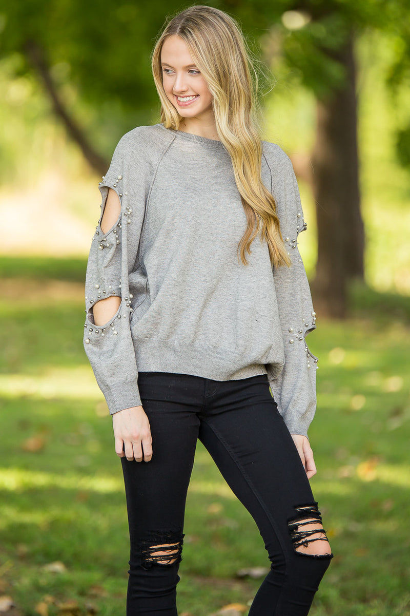 Pearly Wonder Sweatshirt-Heather Grey