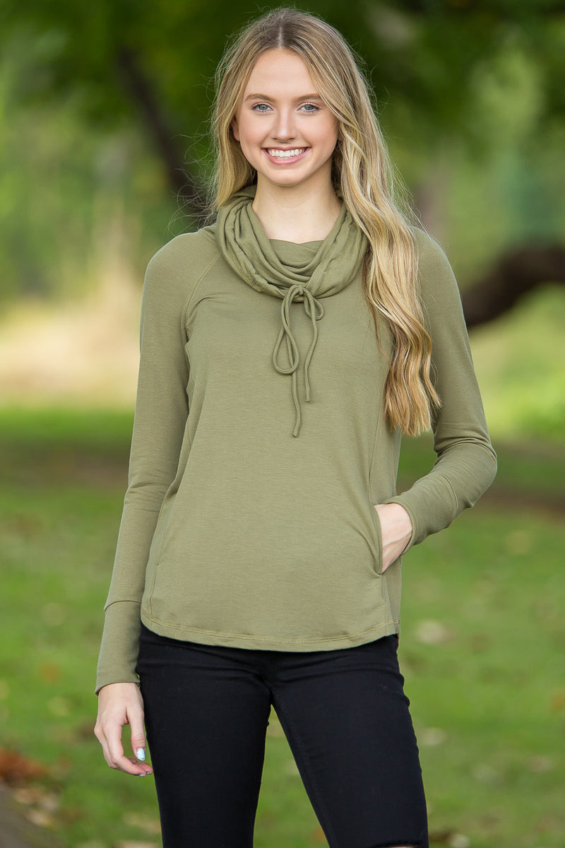 Grab Your Books Raglan Top-Light Olive