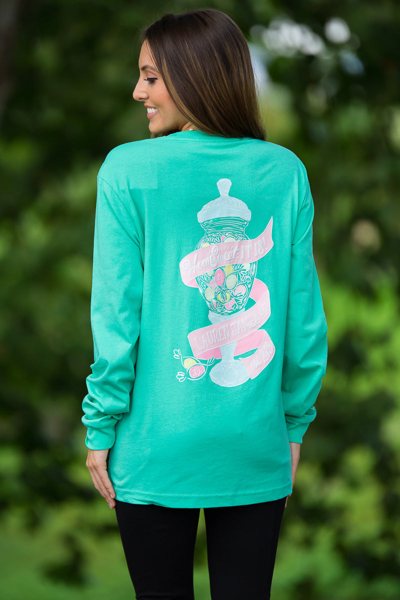 SALE- Lauren James-How Sweet It Is Long Sleeve Top-Seafoam