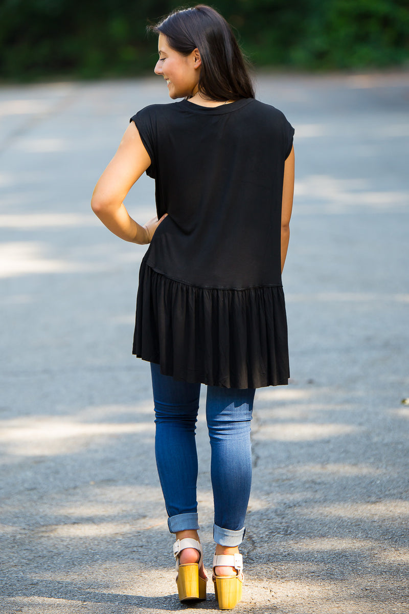 One Ruffle Away Top-Black