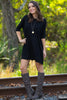 The Perfect Piko Half Sleeve Tunic-Black - Simply Dixie Boutique - 1