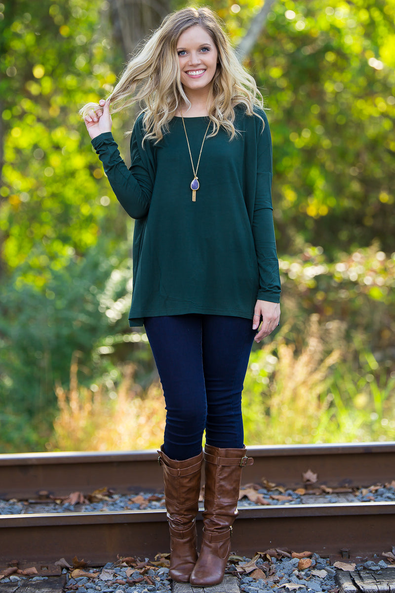 The Perfect Piko Top-Forest Green