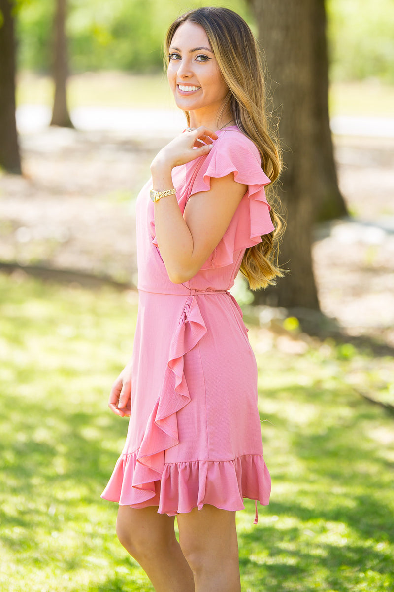 Wrapped Up In You Dress-Rose Pink