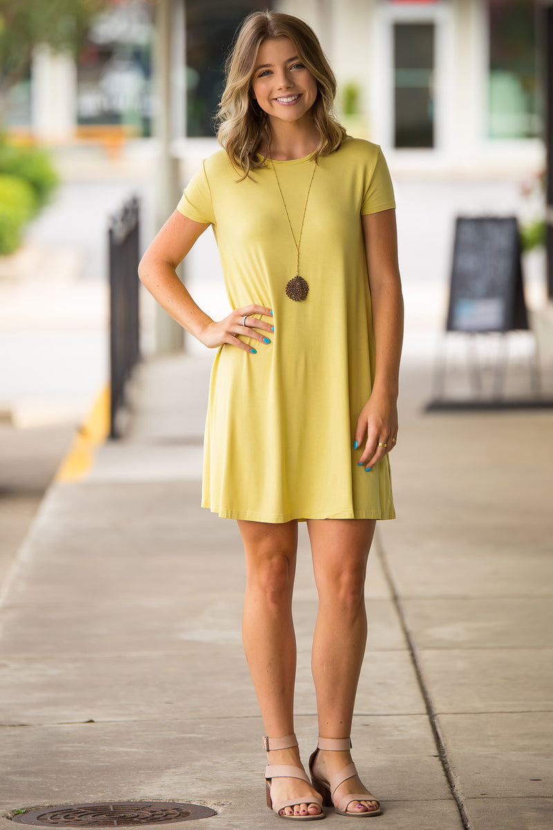 The Perfect Piko Short Sleeve Swing Dress-Yellow