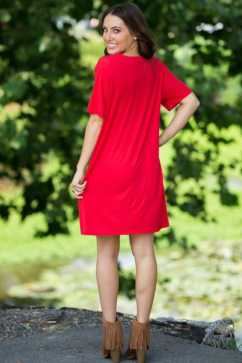 The Perfect Piko Short Sleeve V-Neck Dress-American Red