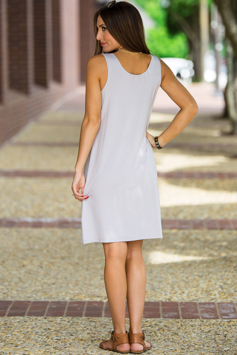 The Perfect Piko Tank Dress-Light Grey