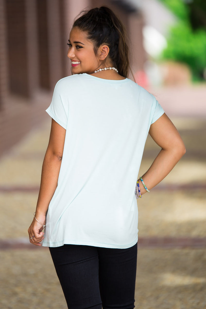 The Perfect Piko Rolled Short Sleeve Top-Mint