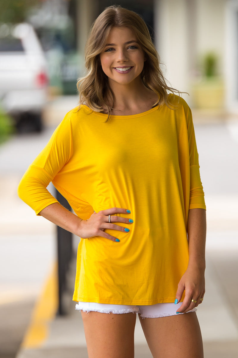 The Perfect Piko 3/4 Sleeve Top-Bright Yellow