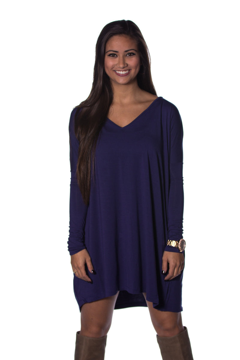 The Perfect Piko V-Neck Tunic Top-Blue