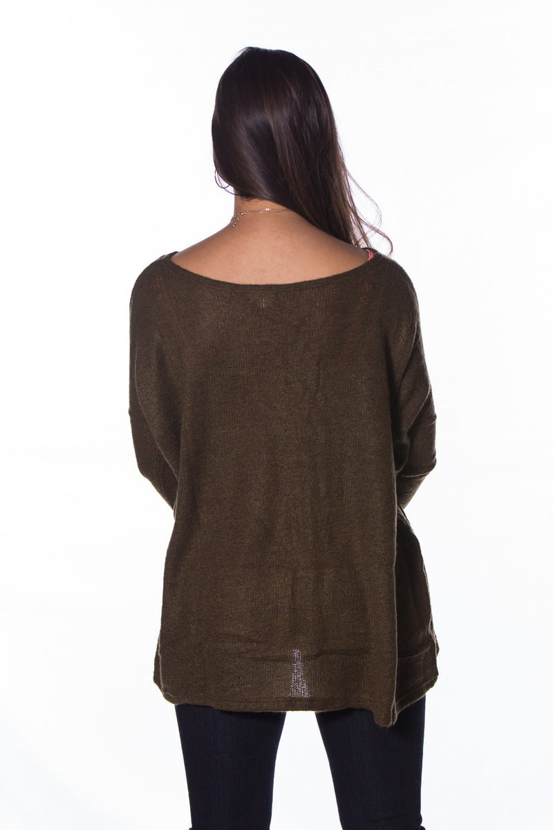 The Perfect Piko Sweater Top-Olive