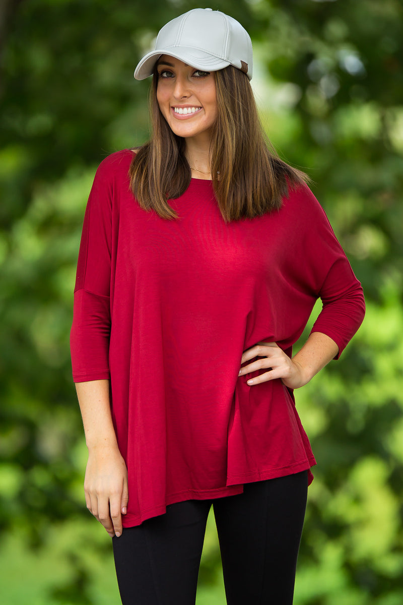 The Perfect Piko 3/4 Sleeve Top-Wine