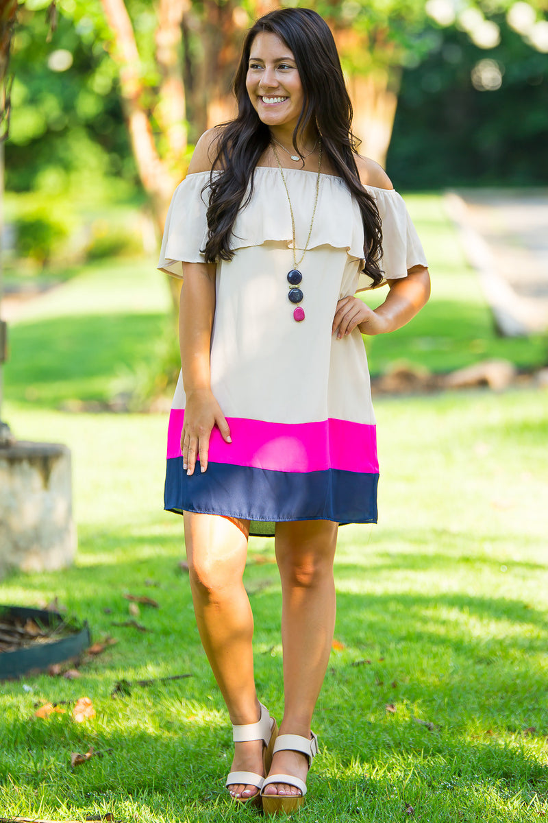 Stack The Colors Dress-Navy/Taupe/Magenta