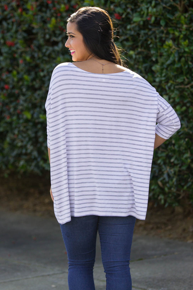 The Perfect Piko 3/4 Sleeve Tiny Stripe Top-Grey/White