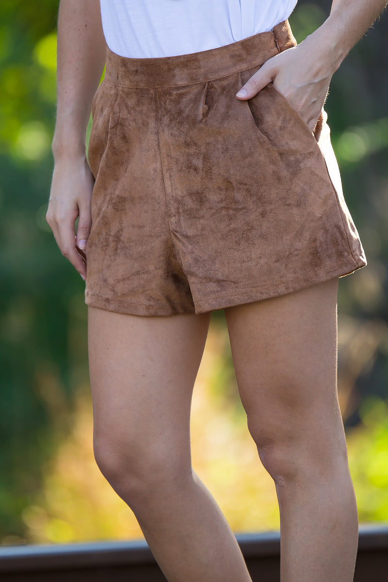 SALE- Suede Is The Way Shorts-Camel