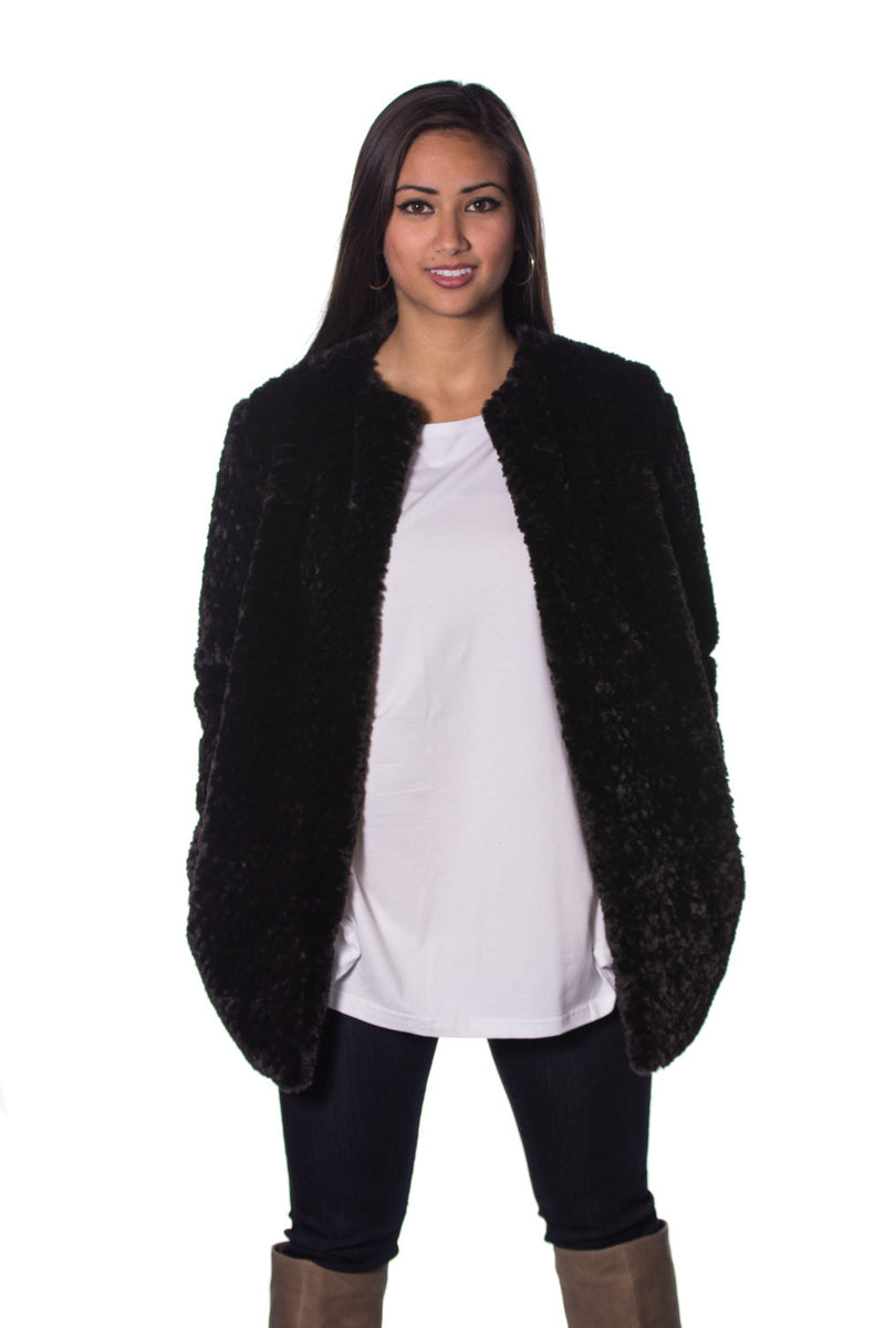 The Perfect Piko Faux Fur Jacket-Black