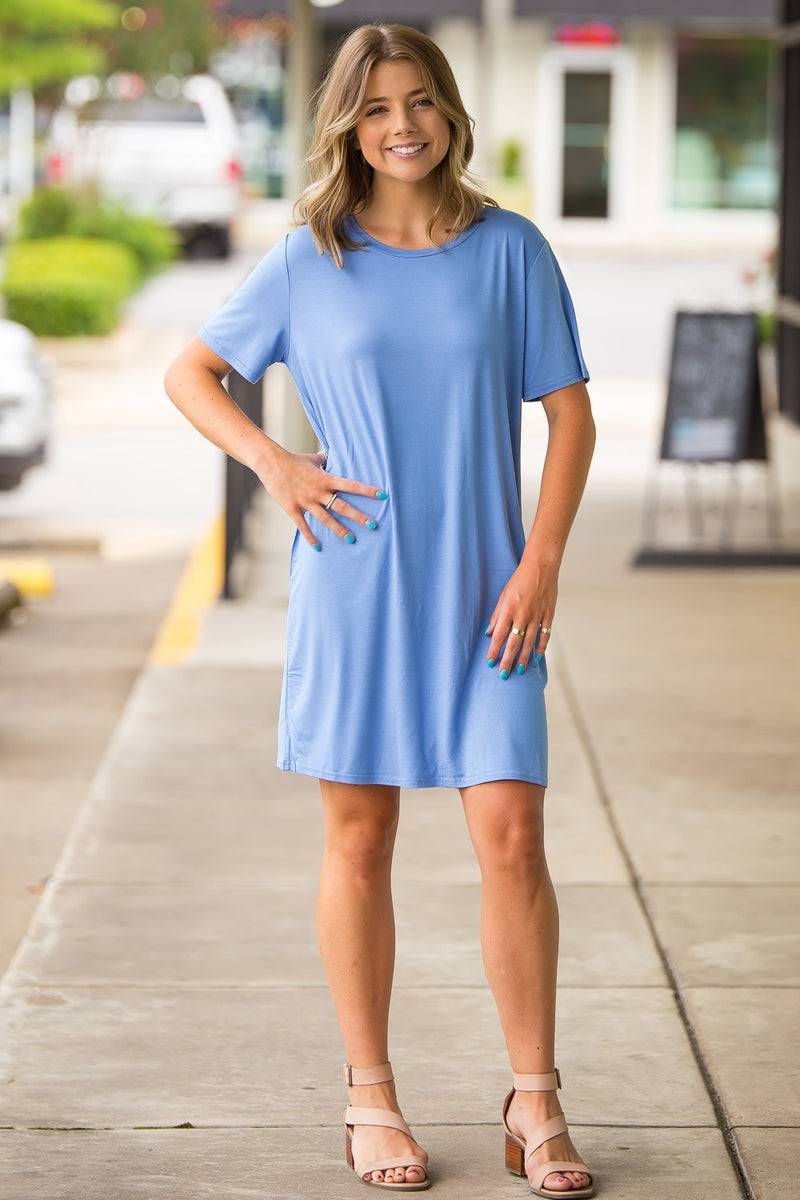 The Perfect Piko Short Sleeve Dress-Serenity