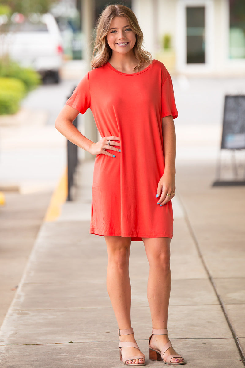 The Perfect Piko Short Sleeve Dress-Watermelon